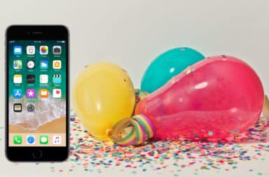 Birthday balloons and iPhone