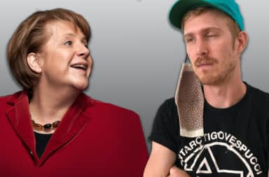angela merkel and bad mask man