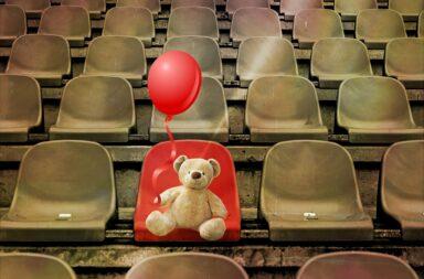 teddy bear in the stadium