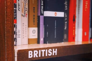 British literature books on a shelf