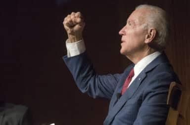 Joe Biden shaking his fist in the air