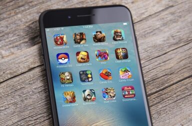 Phone apps display on an iPhone