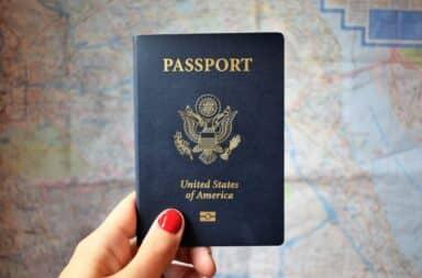 US passport over a map
