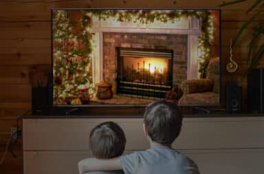 fire yule log on tv wow how'd it get on there