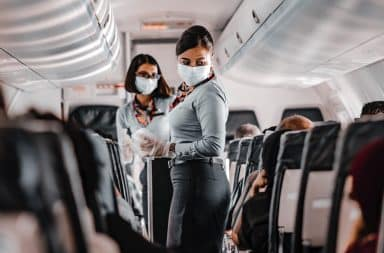 Airplane flight attendant masks