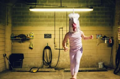Human unicorn in a basement science lab