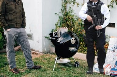 Scotland Yard officer at a backyard BBQ