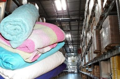 blankets from the warehouse