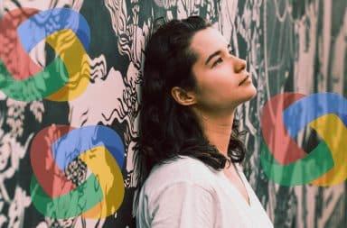 Google Brain logo swirling around a pondering woman