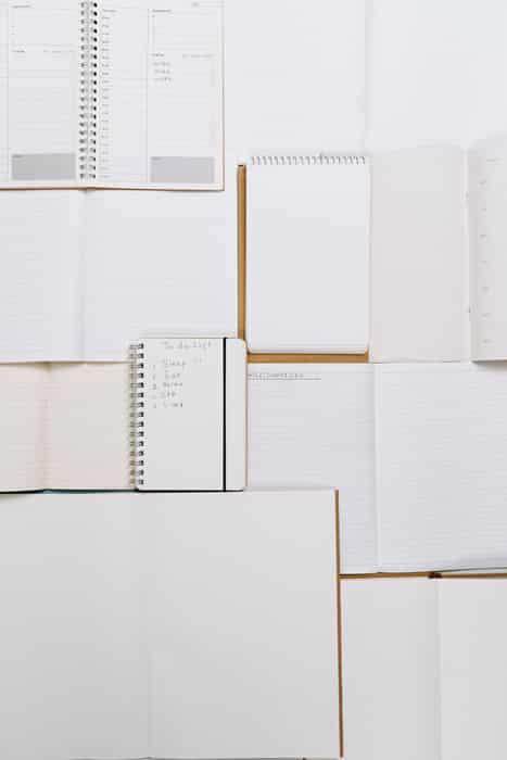 Spiral notebooks in a collage arrangement
