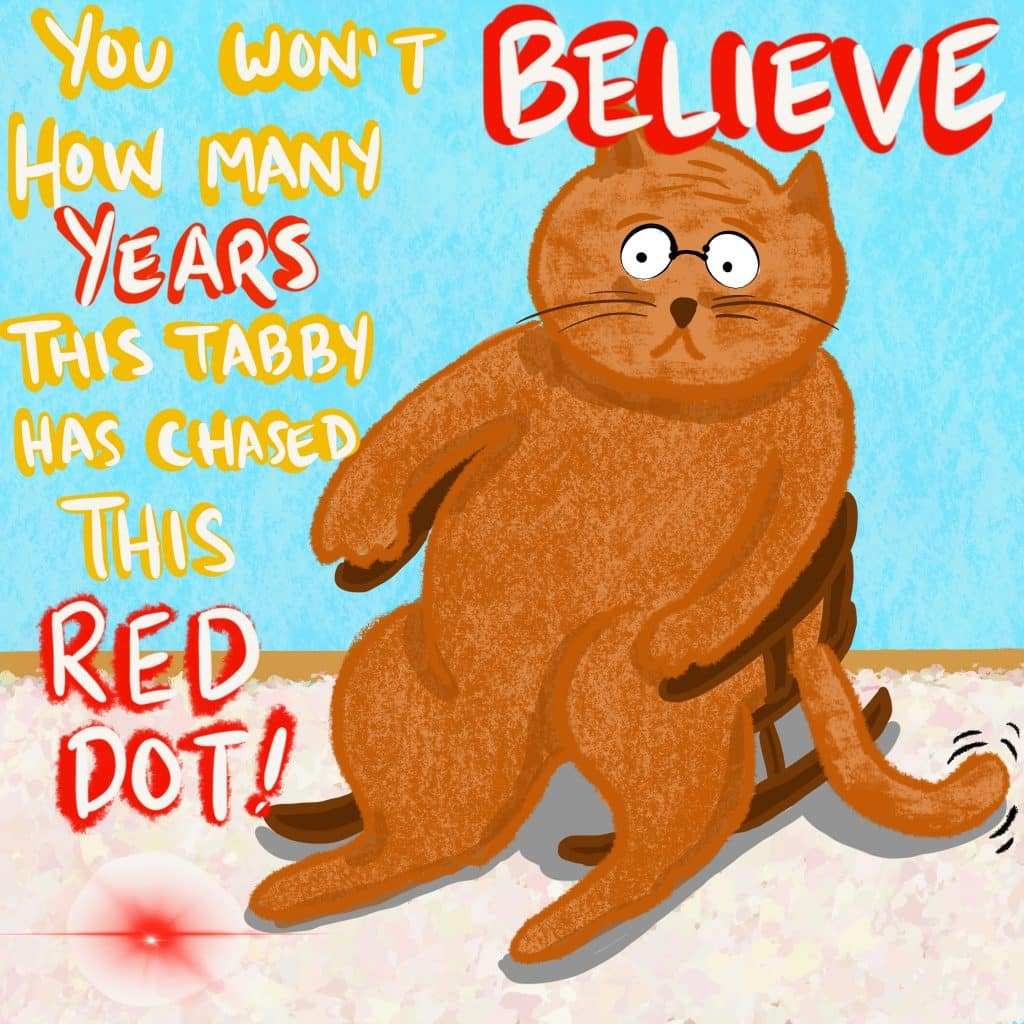 You won't BELIEVE how many YEARS this tabby has chased this RED DOT! [Old tabby cat wearing glasses is sitting in a rocking chair with that red dot on the floor nearby.]