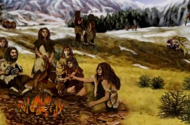 cave people hangin around a fire