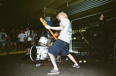 Punk rock indie band guitarist