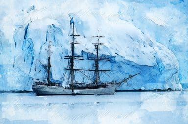 A sailing ship in the ice