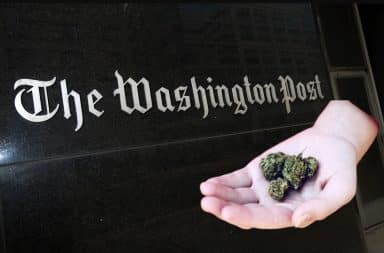 The Washington Post with weed offering from a hand
