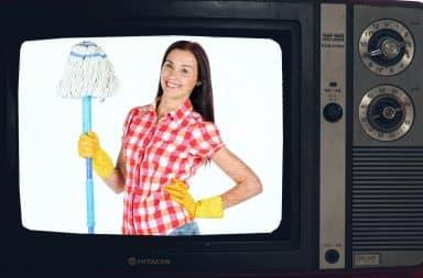 woman on TV mop