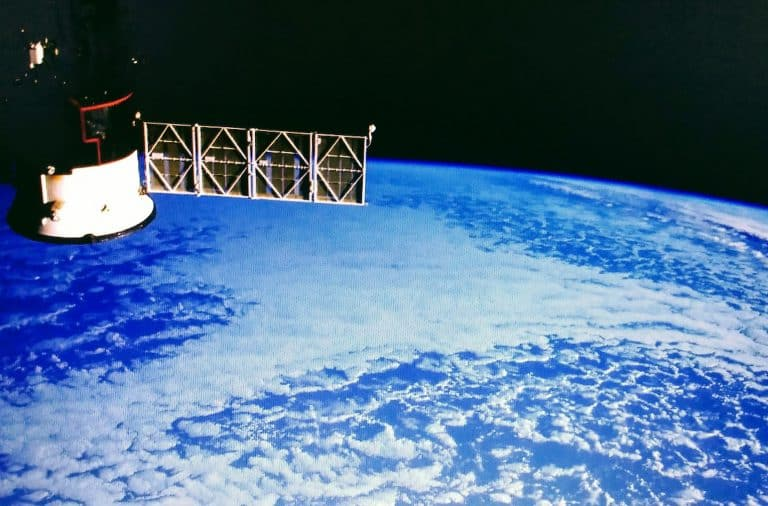 satellite above earth in space