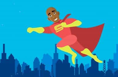 superhero flying around the city