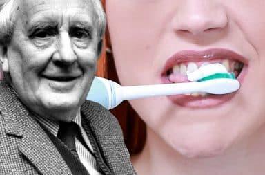 jrr tolkein woman brushing her teeth