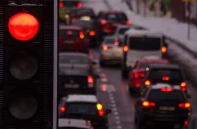 cars at a stop light