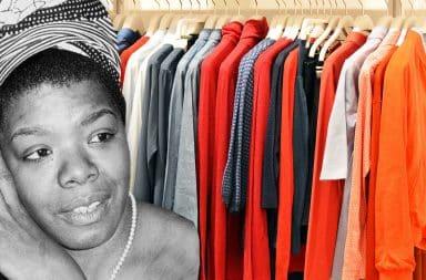 maya Angelou at the clothes store