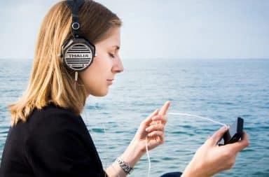 woman on the headphone