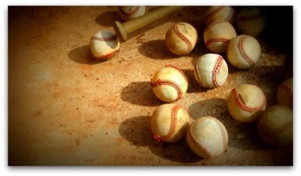 Baseballs in vintage light