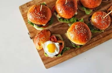 Tray of cheeseburger sliders
