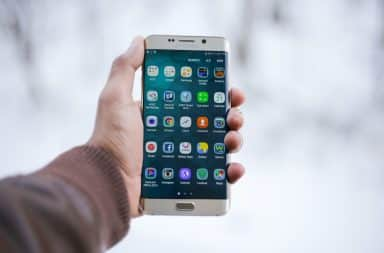 Mobile apps on a phone screen