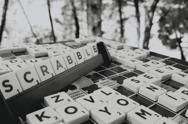 Scrabble tiles in black and white