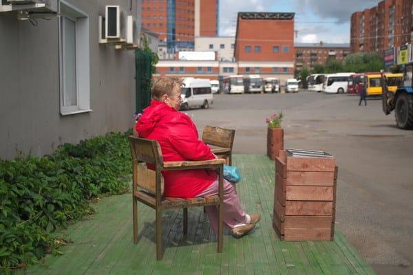 Sue Sweeney outside in a chair