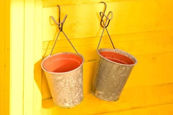 Two buckets hanging