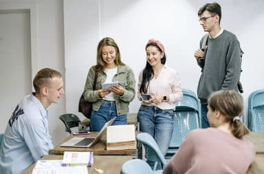 Students laughing in college