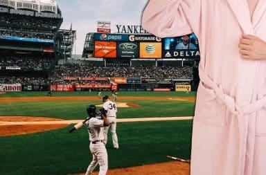bathrobe guy on the baseball diamond