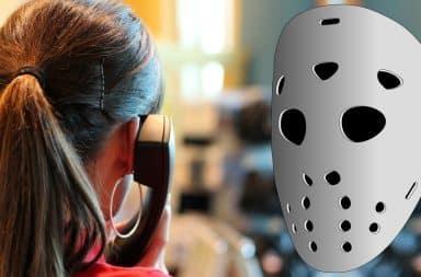 spooooky mask and phone call